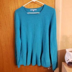 Antonio melani blue cashmere peplum sweater